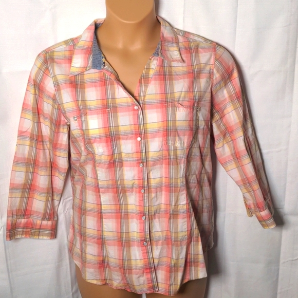 CHRISTOPHER & BANKS Peach Yellow Plaid Button XL